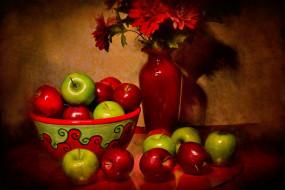 обои для рабочего стола 1920x1280 еда, яблоки, ваза, букет