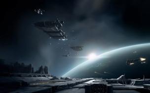 обои для рабочего стола 2560x1600 видео игры, eve online, корабли, планета, станция