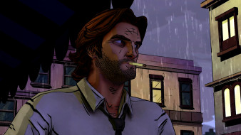 видео игры, the wolf among us, дождь, дома, сигарета, мужчина