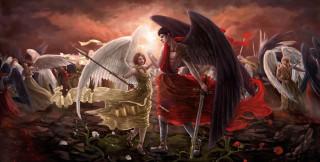 фэнтези, ангелы, оружие, бой, фон, мужчина, девушка