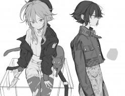 аниме, животные,  существа, нож, девушки, стиль