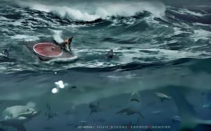 вода, рыба, calendar, прием, борцы, акула, водоем, 2020