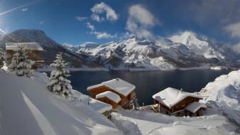 снежная гора, облака, деревья, дом, озеро, деревня, солнечный свет, ель, зима, lac du chevril, франция