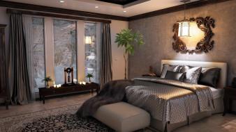 интерьер, спальня, кровать, зеркало, подушки