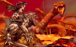 воительница, девушка, монстр, битва, существо, calendar, 2020