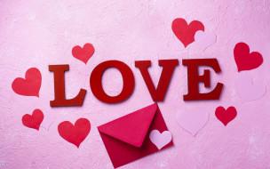 праздничные, день святого валентина,  сердечки,  любовь, сердечки, конверт, надпись