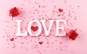 праздничные, день святого валентина,  сердечки,  любовь, надпись, подарки, сердечки