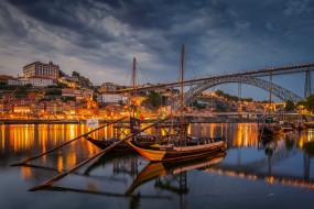 города, порту , португалия, порту, вечер, мост, огни, очаровательный, яркий, колоритный