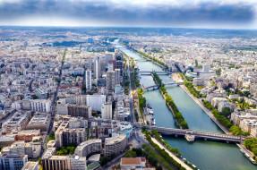 города, париж , франция, мосты, панорама, река