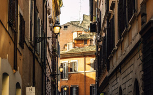 города, рим,  ватикан , италия, узкая, улочка, фонари