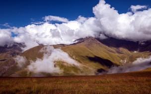 природа, горы, вершины, облака