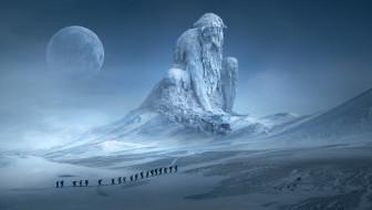 долина, великан, дракон, лёд, снег, луна, экспедиция, планета, мороз, люди