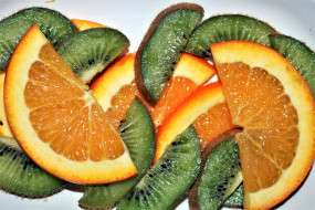 еда, фрукты,  ягоды, апельсин, киви