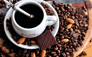 еда, кофе,  кофейные зёрна, шоколад, миндаль, зерна