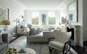 интерьер, гостиная, камин, зеркало, диван