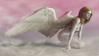 3д графика, ангел , angel, крылья, фон, девушка