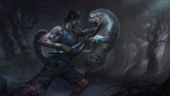 сражение, битва, человек, мужчина, нападение, барс, кошка, животное, хищник, лес, когти, пасть