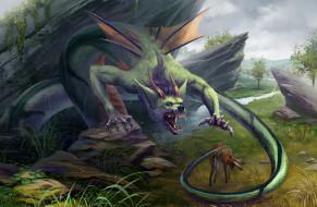 страшилище, обед, крылья, хвост, заяц, пища, дракон, монстр, существо, охота, чудовище