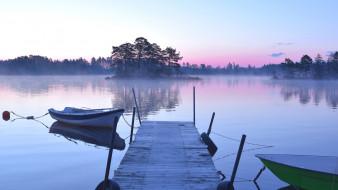 корабли, лодки,  шлюпки, лодка, река, туман