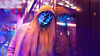 разное, маски,  карнавальные костюмы, огни, капюшон, девушка, маска