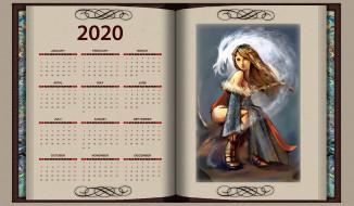 книга, девушка, взгляд, calendar, 2020