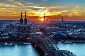 города, кельн , германия, мост, собор, река, закат