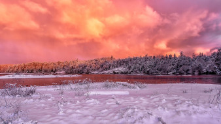 природа, зима, красное, небо, снег