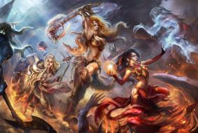 девушки, битва, сражение, магия, призраки, монстры, амазонки, чудища, огонь, колдовство