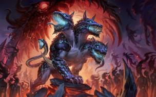 цербер, собака, монстр, дракон, трёхглавый, пасть, зубы, огонь, лапы
