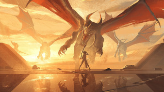 фэнтези, драконы, дракон, атака, девушка, с, луком
