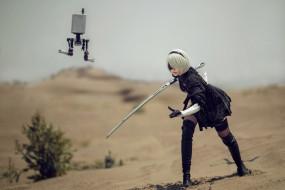 меч, робот, пустыня, 2В, андроид, девушка