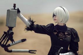 2В, андроид, девушка, робот