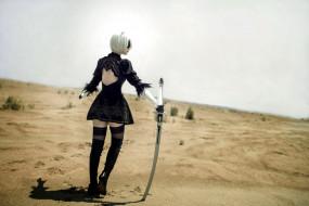 андроид, меч, пустыня, 2В, девушка