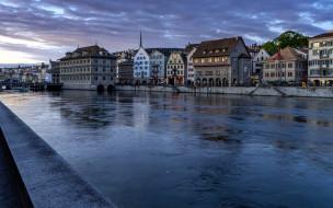 города, цюрих , швейцария, река, зима, набережная, дома, вечер