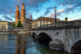 города, цюрих , швейцария, река, собор, мост