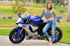 мотоциклы, мото с девушкой, yamaha, macy, meadows