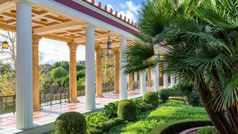галерея, парк, пальмы