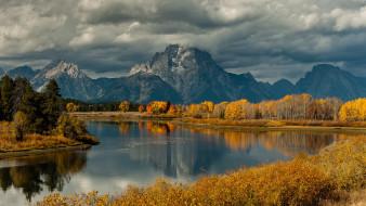 природа, реки, озера, сша, национальный, парк, гранд-титон