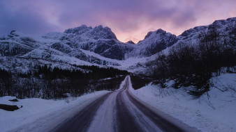 природа, дороги, норвегия, лофотенские, острова