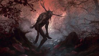 фэнтези, существа, рога, ужас, монстр