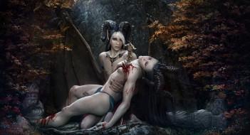фэнтези, существа, рога, меч, рана, взгляд, фон