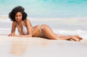 channing dill, девушки, channing, dill, девушка, купальник, бикини, море, пляж, вода, мулатка, темнокожая, чернокожая, красотка, брюнетка, поза, флирт, взгляд, макияж, стройная