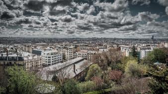 города, париж , франция, париж, облака