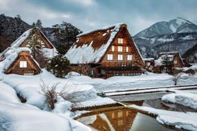 shirakawa village, japan, города, - здания,  дома, shirakawa, village