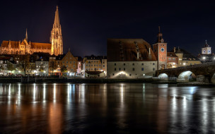 города, регенсбург , германия, вечер, огни, река, мост