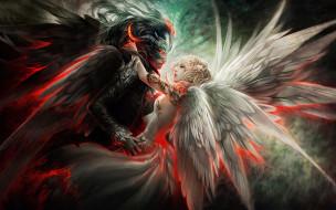 фэнтези, существа, ангел, демон, любовь