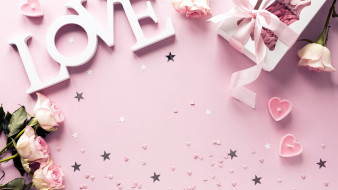 надпись, подарок, свечи, розы