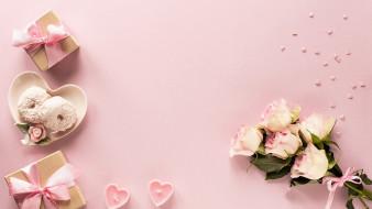 бант, лента, подарки, розы, свечи