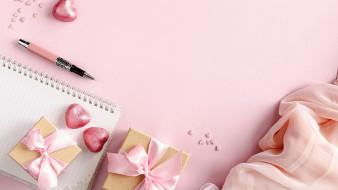 подарки, бант, лента, сердечки