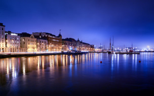 города, хельсинки , финляндия, набережная, вечер, огни
